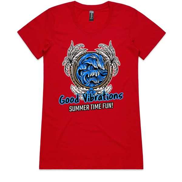 Good Vibrations Summer Time Fun Ladies Red T Shirts