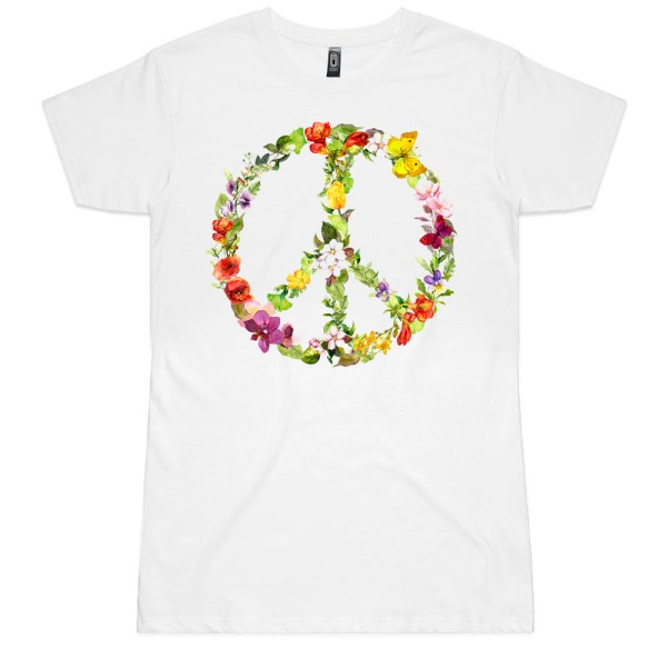 Peace Flowers and Butterfly's Ladies T Shirt