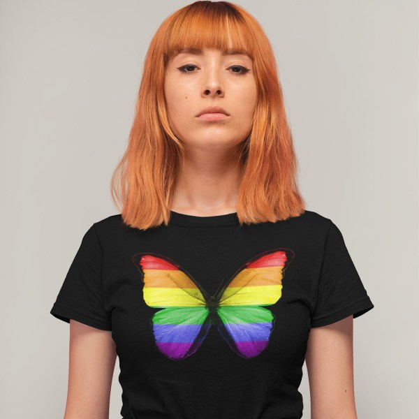 Rainbow Butterfly Ladies T Shirts