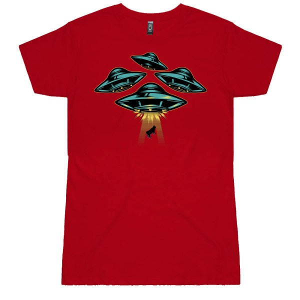 Space Ship and Cow Ladies T Shirts