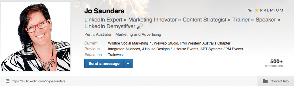 Jo Saunders LinkedIn Profile Summary