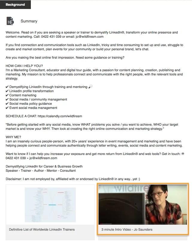 Jo Saunders LinkedIn Summary