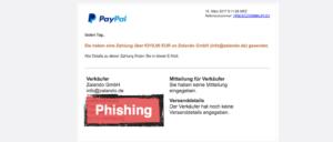 PayPal Zahlung Zalando Phishing Mail