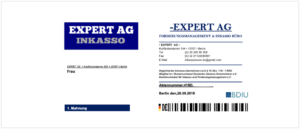 2019-08-30 Brief von Expert Ag Inkasso