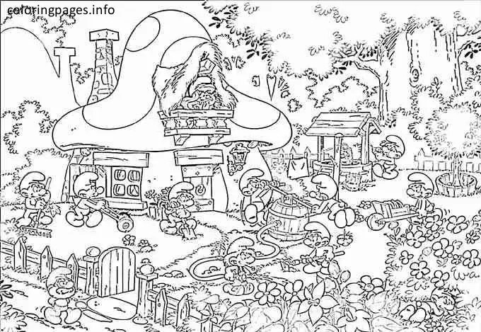 Smurf Village Coloring Pages Free Printable Online Smurf