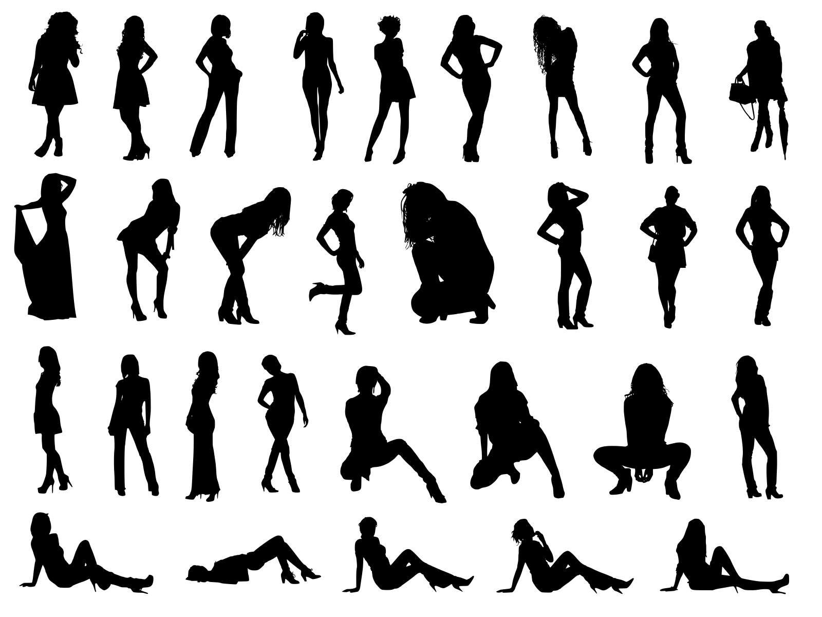 30 Woman Silhouettes Transparent