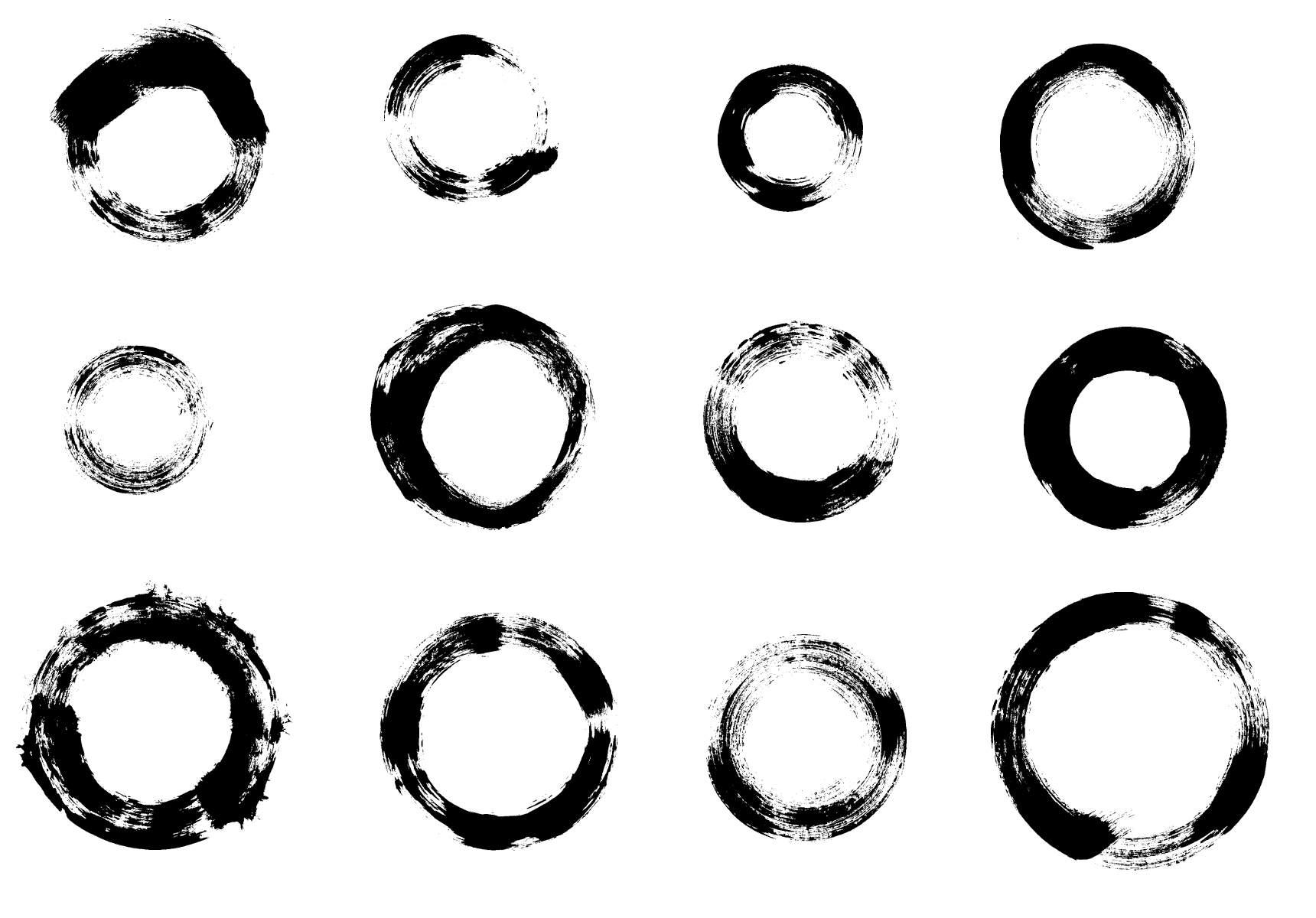 12 Grunge Circle Brush Stroke Transparent