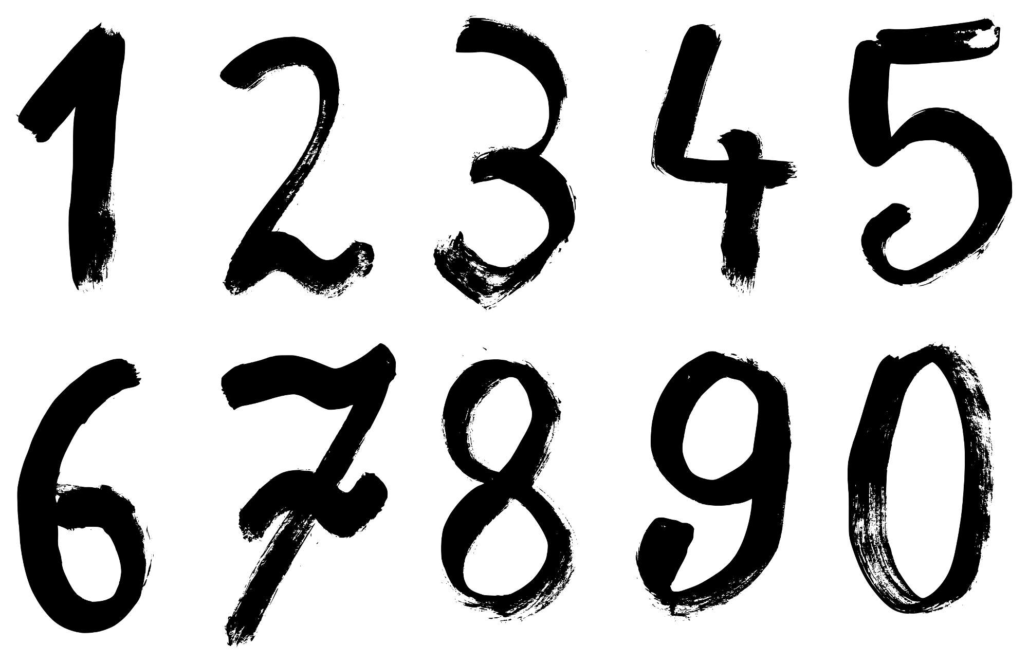 Grunge Numbers Transparent Vol 2