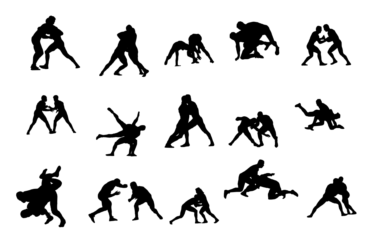 15 Wrestling Silhouette Transparent