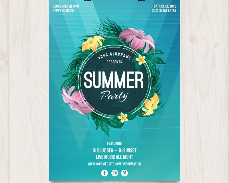 Summer Party Poster With Flowers