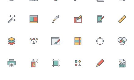 Flat Line Designer Icon Set