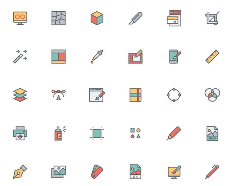 Flat Line Designer Icon Set