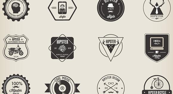 32 Hipster Badges Set