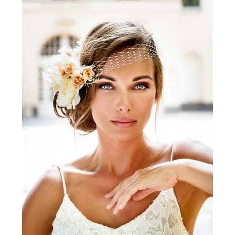 bridal hair piece bandeau style veil