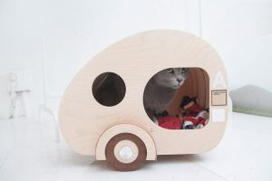wooden camping trailer for cats