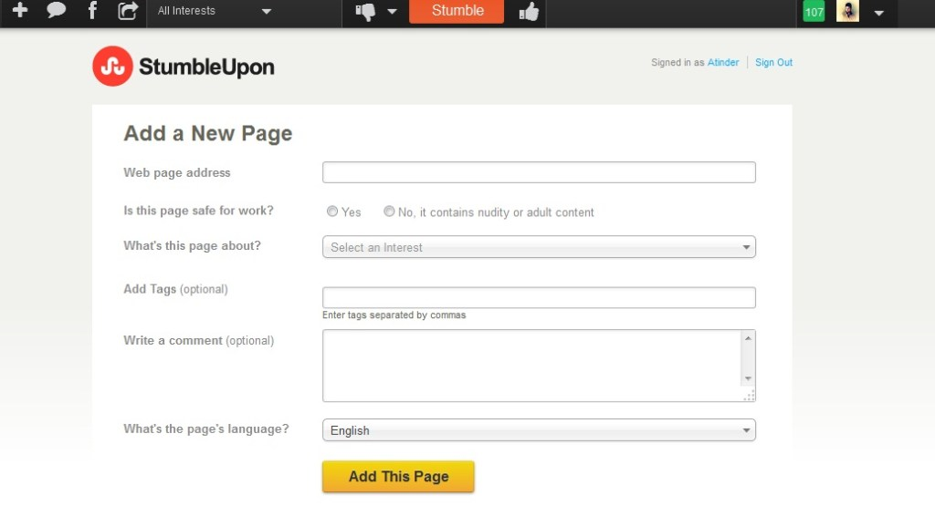 Add Page to Social Bookmarking sites