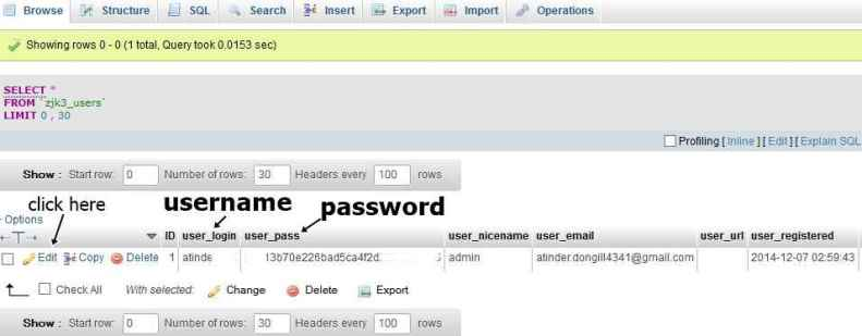 reset WP password with phpmyadmin