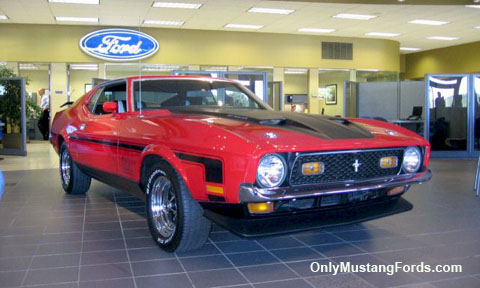 red 1971 Ford Mustang mach