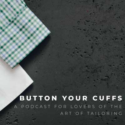 button your cuffs podcast logo with two custom shirts on a gray background