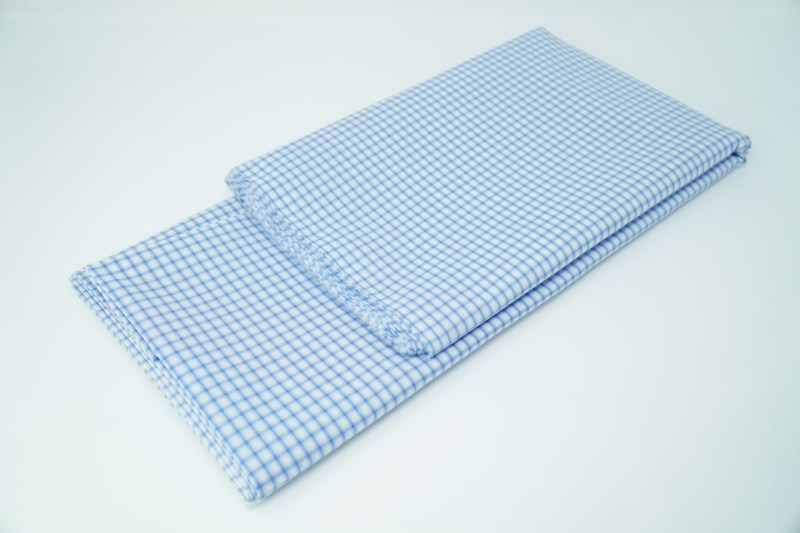 blue on white check cotton face mask material