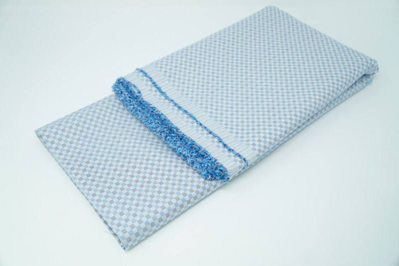 alternating blue black check cotton face mask material