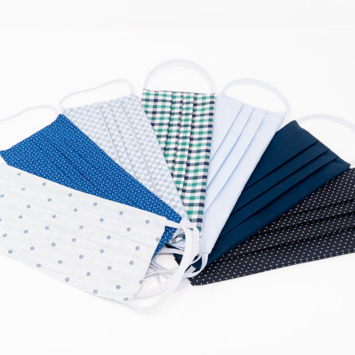 shirting masks in a group with multiple colors on white background