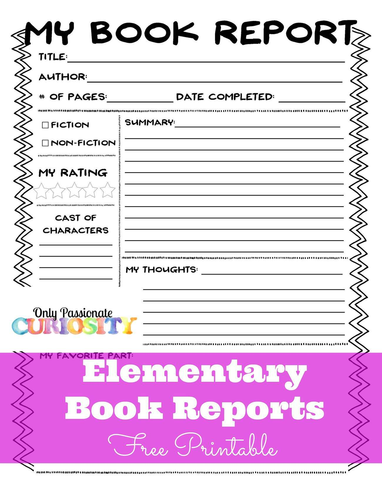 Elementary Book Reports Made Easy Only Passionate Curiosity