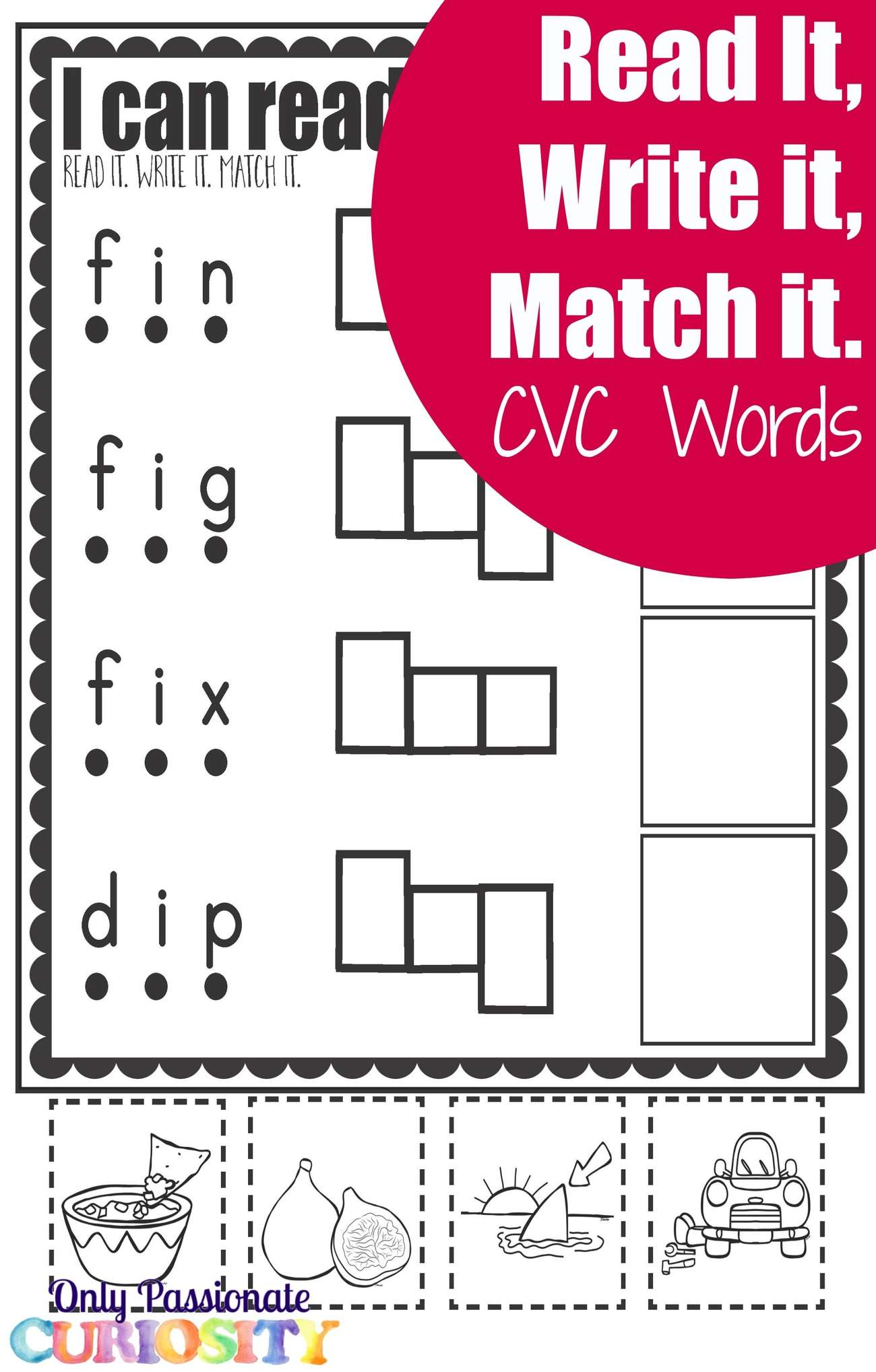 Cvc Worksheets Cut And Paste Letter I Only Passionate Curiosity