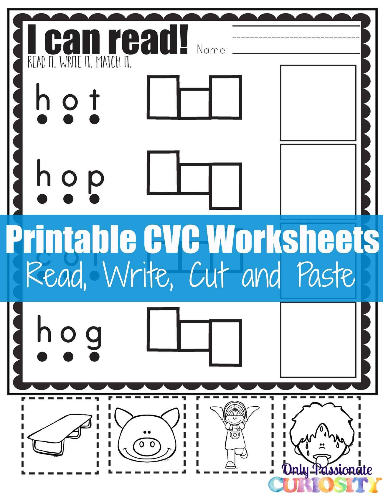 Cvc Worksheets Cut And Paste Letter O Only Passionate