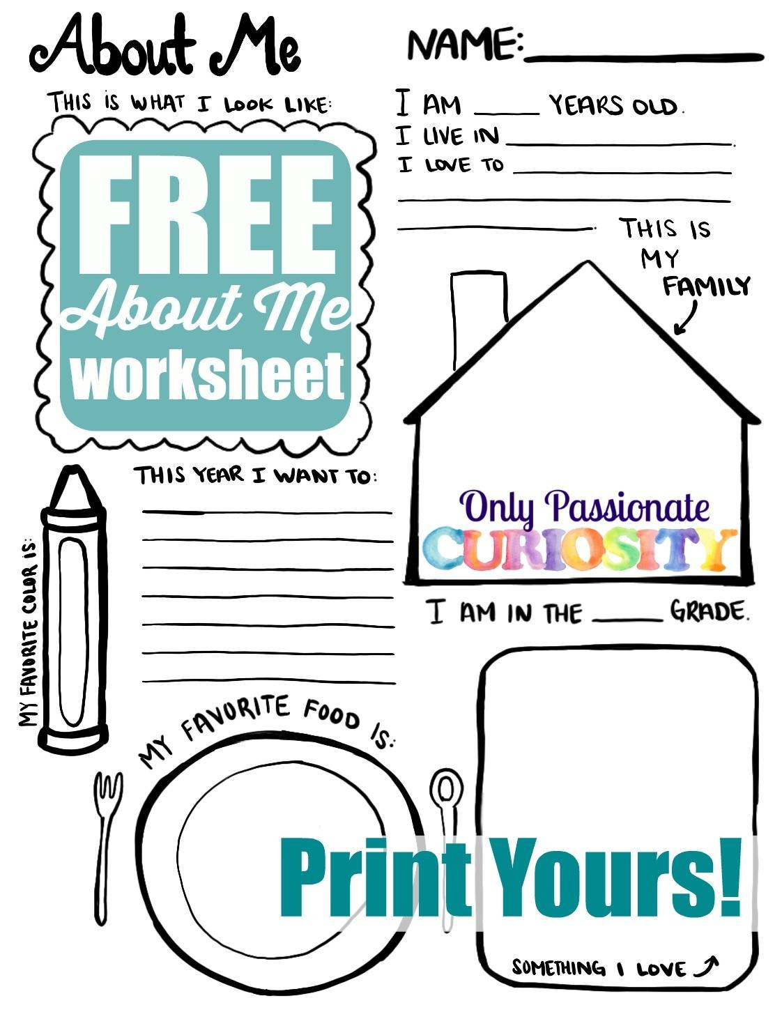 All About Me Back To School Printable Only Passionate Curiosity
