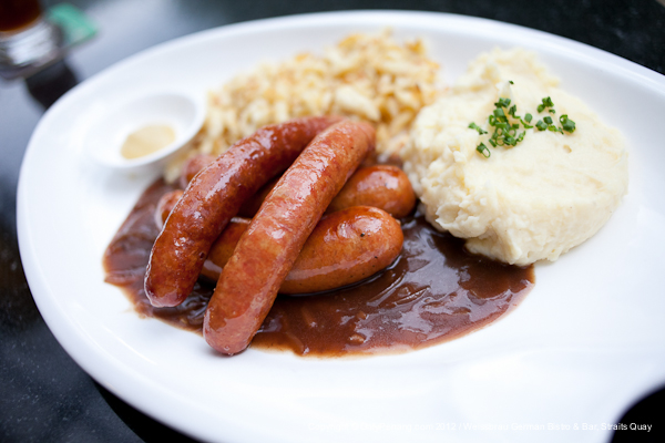 Combo Smoked Garlic Sausage and Emmentaler, served with Garlic Mash Potato