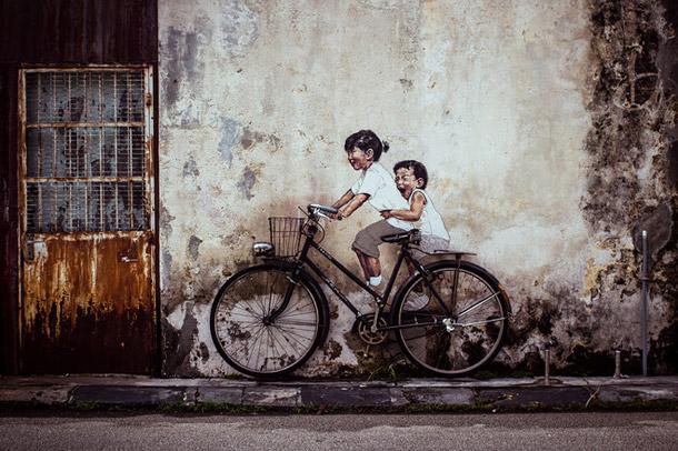 "Penang Street Art, ""Little Children on a Bicycle"" Mural, Armenian Street, George Town, Penang"