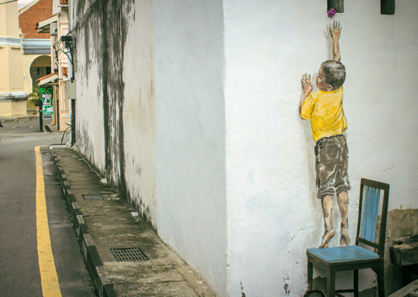 "Penang Street Art, ""Reaching Up"" Mural, Cannon Street, George Town, Penang"