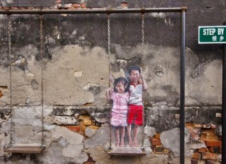 Louis Gan and the Brother and Sister on a Swing mural (14 November, 2012)
