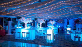 LED Bar Height Tables & Custom Ceiling Draping