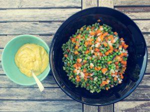 couper des légumes en dés