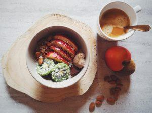 Porridge au chocolat et noix de coco