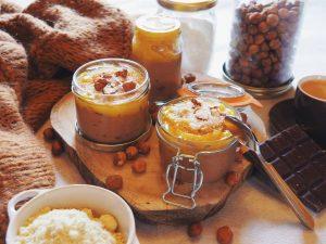 Crème vegan noisette, chocolat et sorbet de mangue