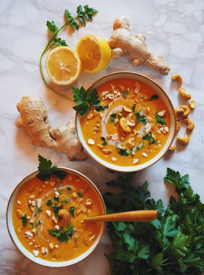 Soupe butternut façon thaï vegan sans gluten recette facile à faire recette rapide