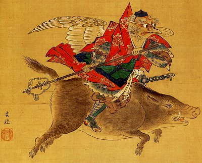 Crow Tengu, Late Edo Period Painting by Kaihou Yuutoku