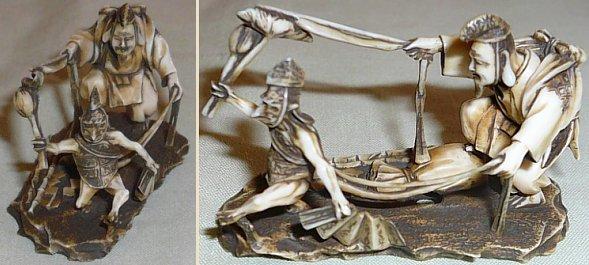 Kappa commanded by Ebisu; ivory okimono