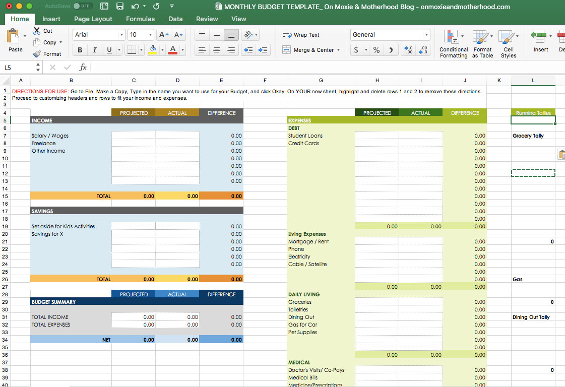 Small Business Budget Template Excel Free