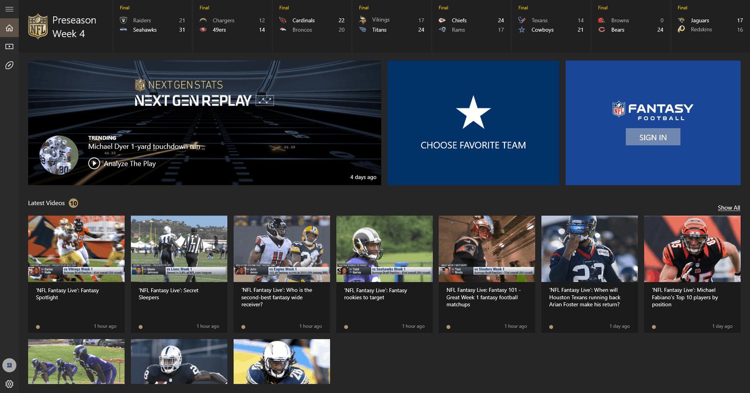 NFL App on Windows 10