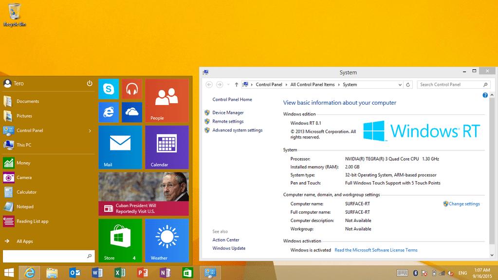 Start Menu Windows RT
