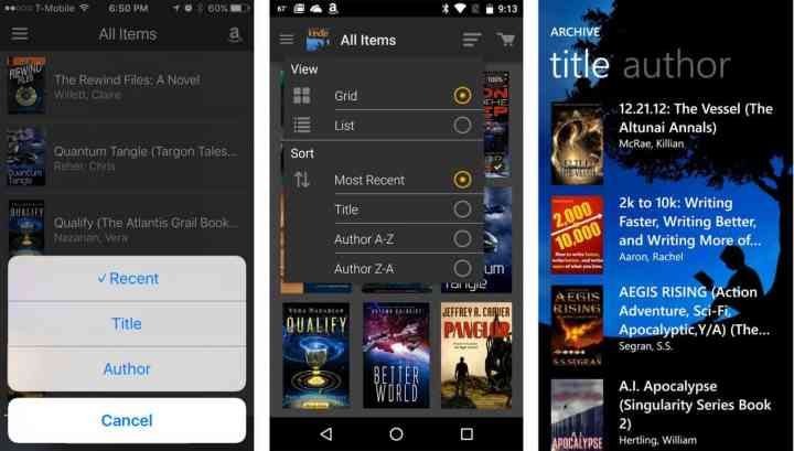 iOS, Android, and Windows phone book list options.