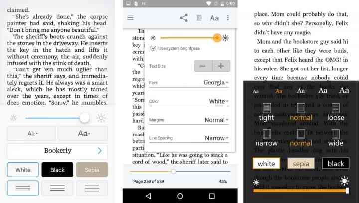 iOS, Android, and Windows phone Kindle app font options.