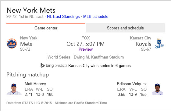 Bing predicts the Royals to take the World Series in 6 games.