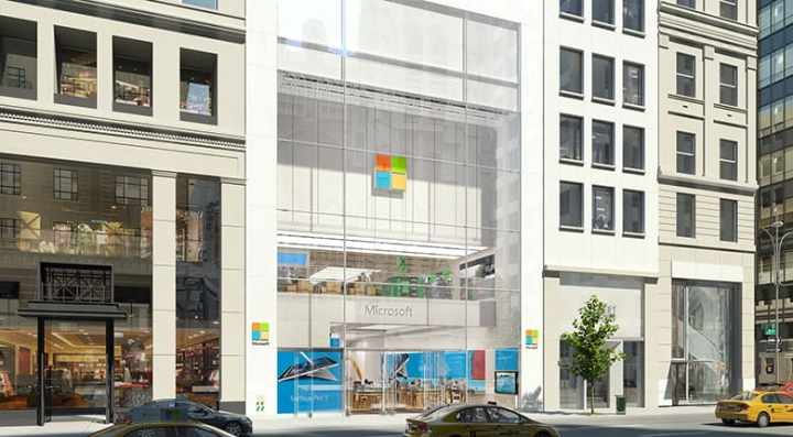 A render of Microsoft's first-ever flagship Microsoft Store.