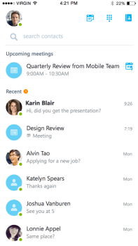 Skype for Business iOS dashboard.