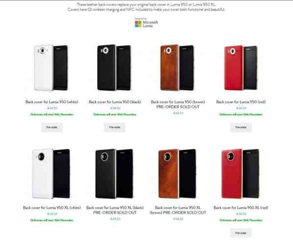 All the color options available: black, brown, red, white.